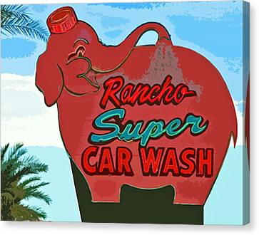 Rancho Super Car Wash Canvas Print by Charlette Miller