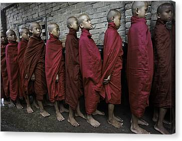 Rangoon Monks 1 Canvas Print by David Longstreath
