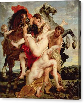 Rape Of The Daughters Of Leucippus Oil On Canvas Canvas Print by Peter Paul Rubens