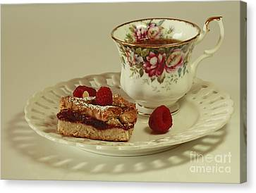 Raspberry Almond Square And Herbal Tea  Canvas Print by Inspired Nature Photography Fine Art Photography