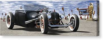 Rat Rod On Route 66 2 Panoramic Canvas Print by Mike McGlothlen