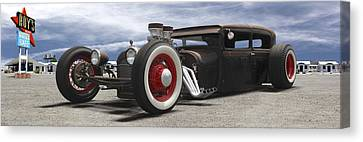 Rat Rod On Route 66 Panoramic Canvas Print by Mike McGlothlen