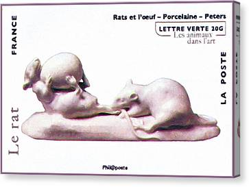 Rats And Egg Porcelain Stamp Canvas Print by Lanjee Chee