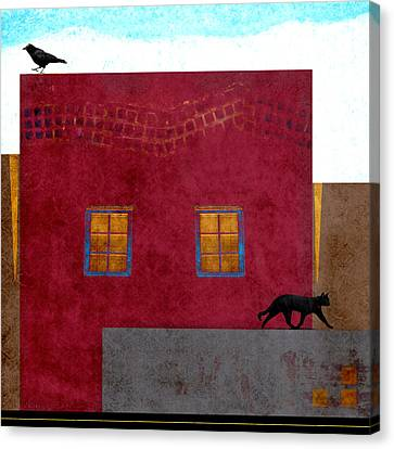 Raven And Cat Canvas Print by Carol Leigh
