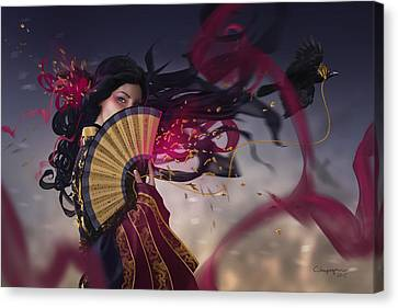 Raven Canvas Print by Cassiopeia Art