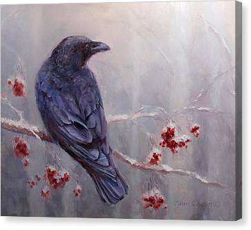 Raven In The Stillness - Black Bird Or Crow Resting In Winter Forest Canvas Print by Karen Whitworth