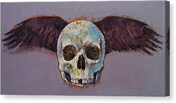 Raven Skull Canvas Print by Michael Creese