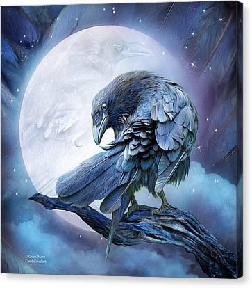 Raven Moon Canvas Print by Carol Cavalaris