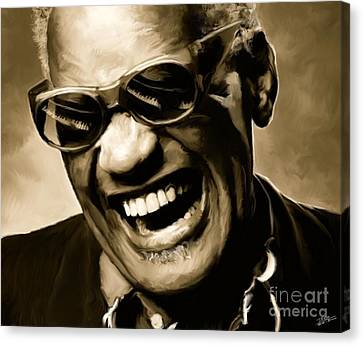 Ray Charles - Portrait Canvas Print by Paul Tagliamonte