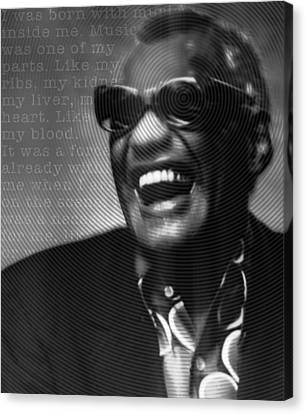 Ray Charles Robinson And Quote Black And Gray Canvas Print by Tony Rubino