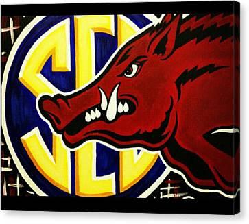razorbacks SEC Canvas Print by Russten Johnson
