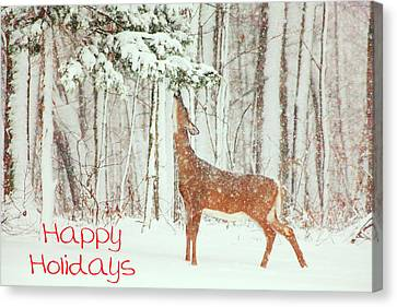 Reach For It Happy Holidays Canvas Print by Karol Livote