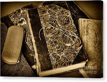 Reading And Glasses In Black And White Canvas Print by Paul Ward