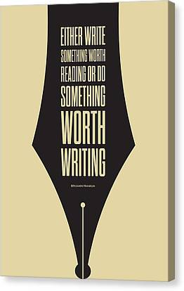 Reading And Writing Benjamin Franklin Quotes Poster Canvas Print by Lab No 4 - The Quotography Department