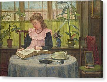 Reading Canvas Print by Elias Mollineaux Bancroft
