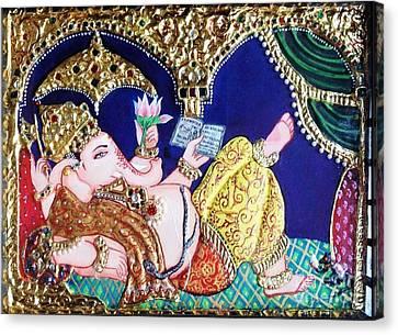 Reading Ganesha Canvas Print by Jayashree