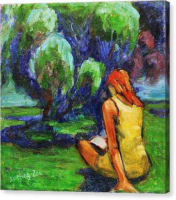 Reading In A Park Canvas Print by Xueling Zou