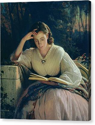 Reading Canvas Print by Ivan Nikolaevich Kramskoy