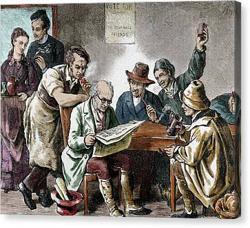 Reading The Newspaper In The Tavern Canvas Print by Prisma Archivo