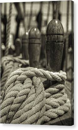 Ready For Work Black And White Sepia Canvas Print by Scott Campbell