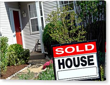 Real Estate Sold House Sign And Home For Sale Canvas Print by Olivier Le Queinec