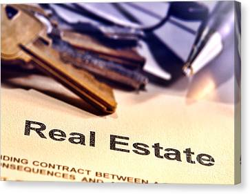 Real Estate Title Word On A Realtor Contract Page Canvas Print by Olivier Le Queinec