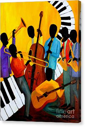 Real Jazz Octet Canvas Print by Larry Martin