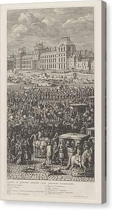 Rear Guard Of The Procession Of King Louis Xiv Of France Canvas Print by Jan Van Huchtenburg And Adam Frans Van Der Meulen