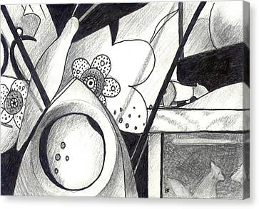 Receptors And Rabbit Ears And Long Pairs Of Antennas Canvas Print by Helena Tiainen