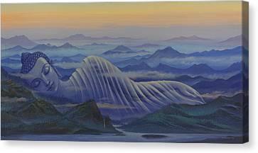 Reclining Buddha Canvas Print by Vrindavan Das