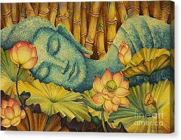 Reclining Buddha Canvas Print by Yuliya Glavnaya