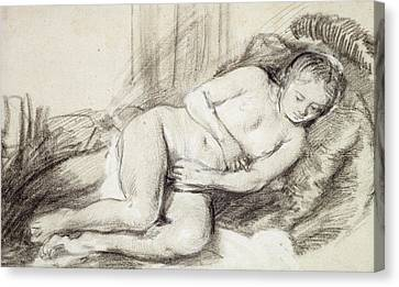 Reclining Female Nude Black Chalk And Bodycolour On Paper Canvas Print by Rembrandt Harmensz. van Rijn