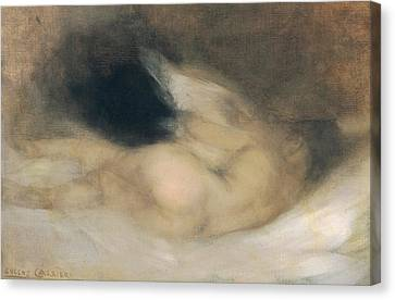 Reclining Nude Canvas Print by Eugene Carriere