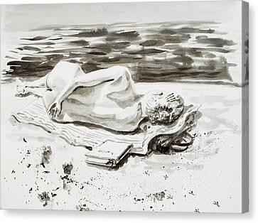 Reclining Nude Study Resting At The Beach Canvas Print by Irina Sztukowski