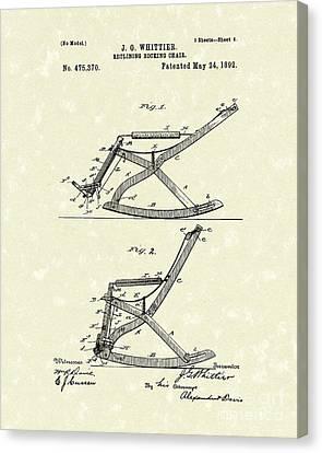 Reclining Rocker 1892 Patent Art Canvas Print by Prior Art Design