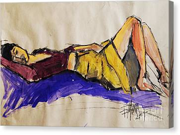 Reclining Woman - Pia #5 - Figure Series Canvas Print by Mona Edulesco