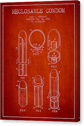 Reclosable Condom Patent From 1986 - Red Canvas Print by Aged Pixel