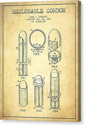 Reclosable Condom Patent From 1986 - Vintage Canvas Print by Aged Pixel