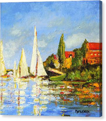 Recreation Of Boating At Argenteuil Canvas Print by Marti Green
