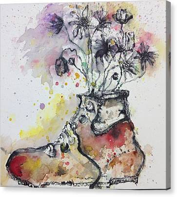 Recycle Shoes Canvas Print by Isaac Alcantar
