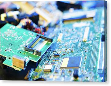 Recycled Printed Circuit Boards Canvas Print by Wladimir Bulgar