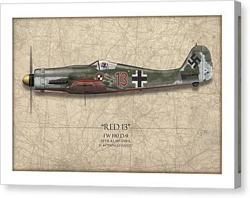 Red 13 Focke-wulf Fw 190d - Map Background Canvas Print by Craig Tinder