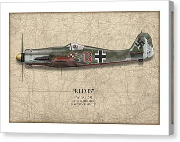 Red 13 Focke-wulf Fw 190d - Map Background Canvas Print by Craig Tinder