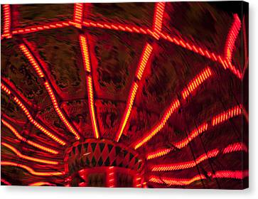 Red Abstract Carnival Lights Canvas Print by Garry Gay