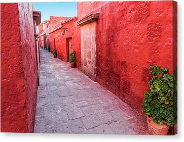 Red Alley In Monastery Canvas Print by Jess Kraft
