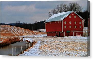Red Amish Barn In Winter Canvas Print by Dan Sproul