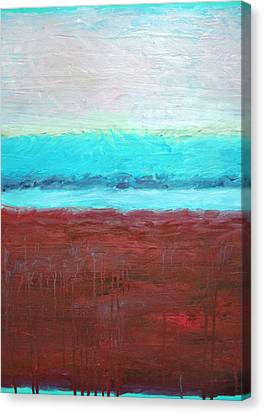 Red And Aqua Get Married Canvas Print by Michelle Calkins
