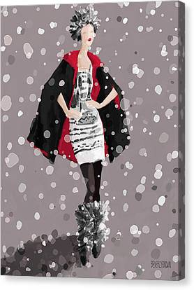 Red And Black Cape In The Snow Fashion Illustration Art Print Canvas Print by Beverly Brown
