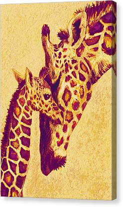 Red And Gold Giraffes Canvas Print by Jane Schnetlage
