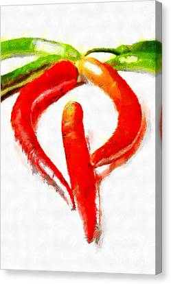 Red And Green Chili Peppers Painting Canvas Print by Magomed Magomedagaev
